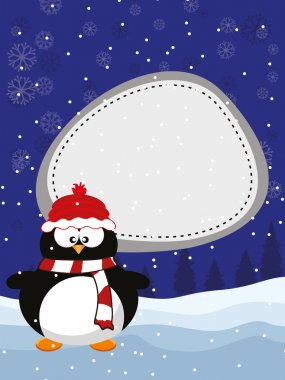 A Christmas & New Year winter background with happy panguin. Vec