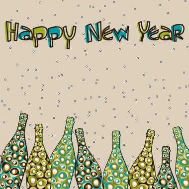 colorful retro pop Champagne bottles for New Year, Christmas &