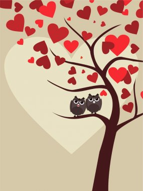 Background with couple of owls sitting on branch of Valentine tree in heart shape for Valentines Day. clip art vector