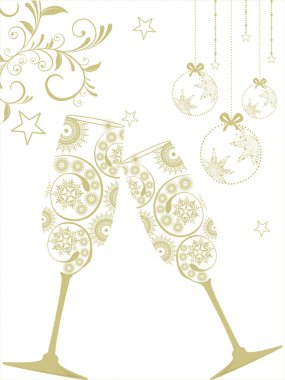 New year background with christmas balls and champagne glass. Ve