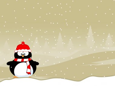 Penguins wearing winter cap & scarf with snowflakes on winter background for Christmas, New Year & other occasions. stock vector