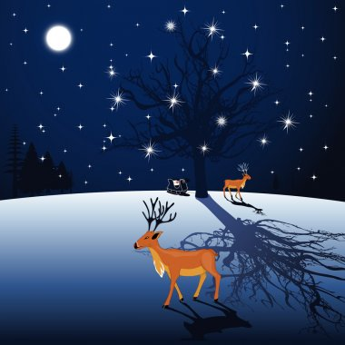 Full moon night background with Reindeer and Santa sleigh. Vect