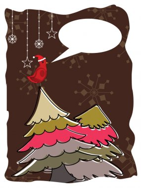 Abstract of christmas greeting card with cute bird sitting on colorful Christmas tree and copy space on Brown background for Christmas and other occasions. stock vector