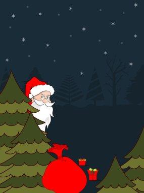 Santa Claus hiding behind the Christmas tree. vector illustratio