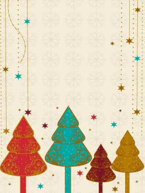 A vector Christmas & new year card with colorful Christmas tree.
