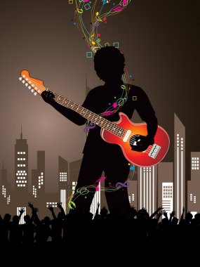 Silhouette of dancing peoples at urban new year party background