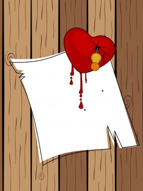 Broken heart stick with blank paper on wooden. Vector illustrati