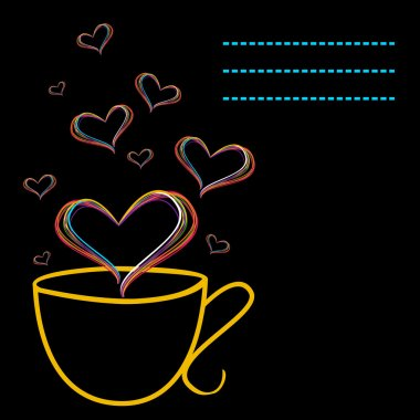 Vector illustration of Love with coffee cup and hearts shape in