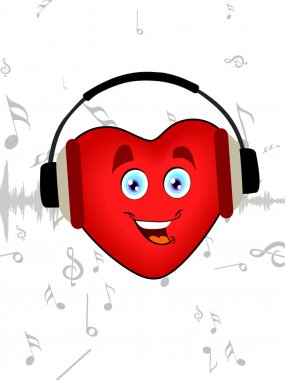 Illustration of a happy heart shape listening music with headphone on seamless music background for Valentines Day. stock vector