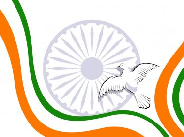 Vector illustration of Indian tricolor flag with flying pigeons