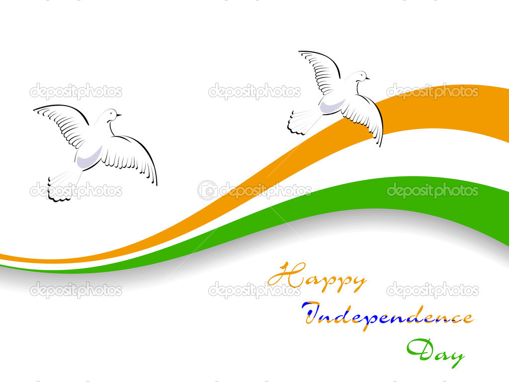 Vector illustration of Indian National flag with flying pigeons