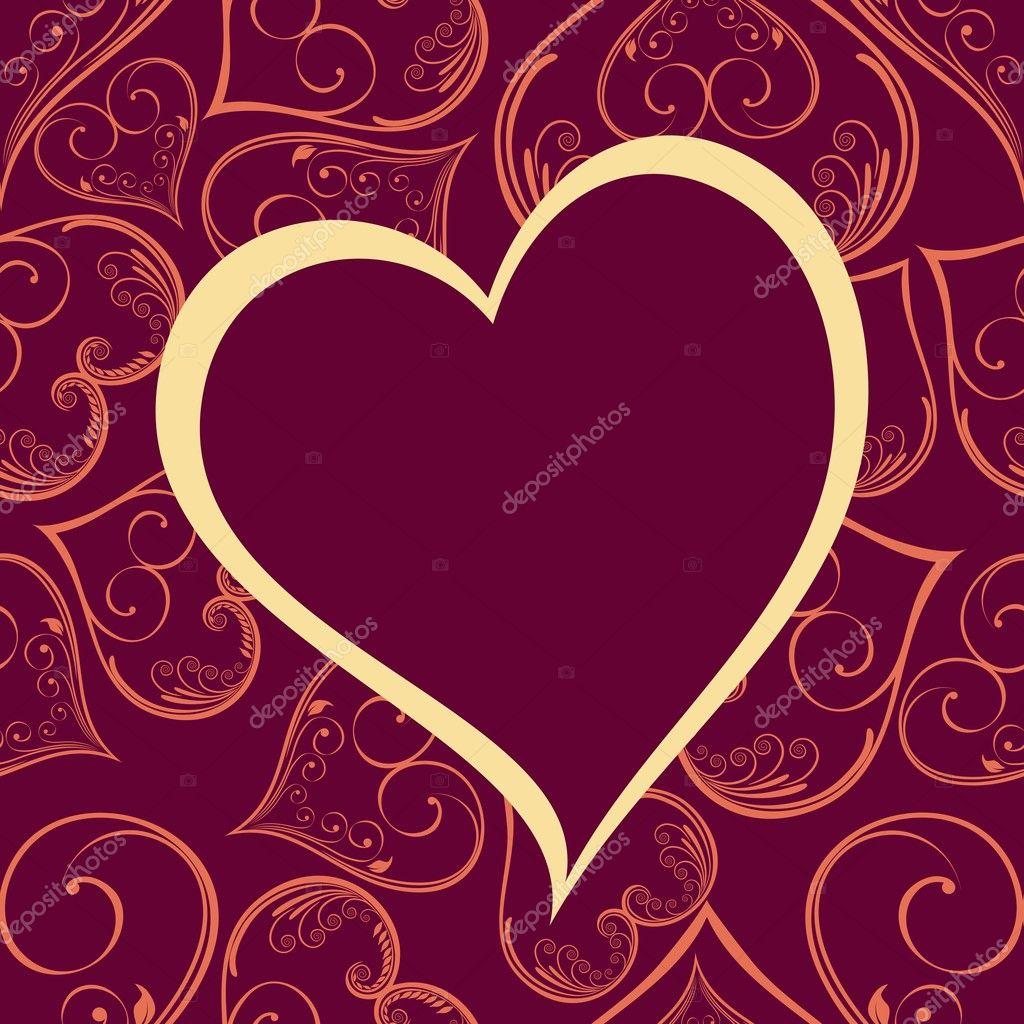 vector pattern heart shape frame in megenta color background.