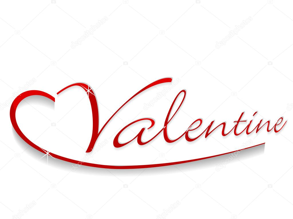 Drawing Valentine text on white background.
