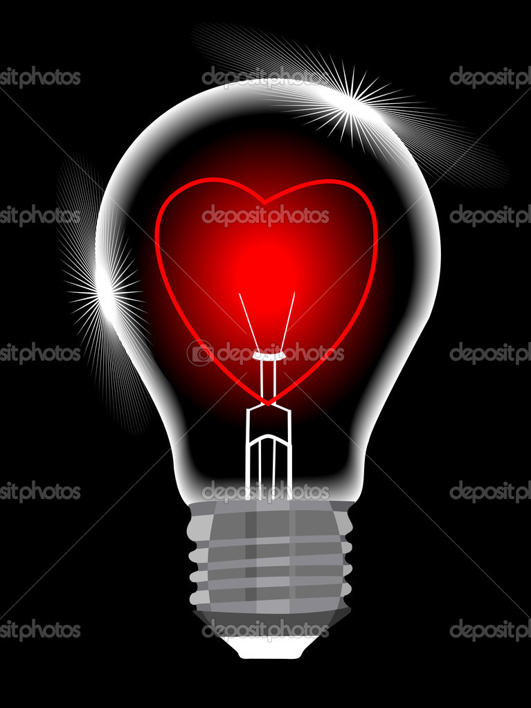 Light bulb with heart against black background, abstract vector