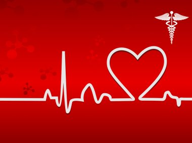 Heart beat on display on a red background