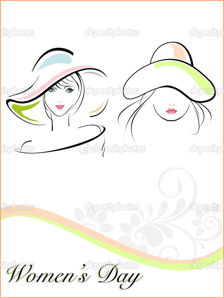 Young girls wearing hat with the text of woman
