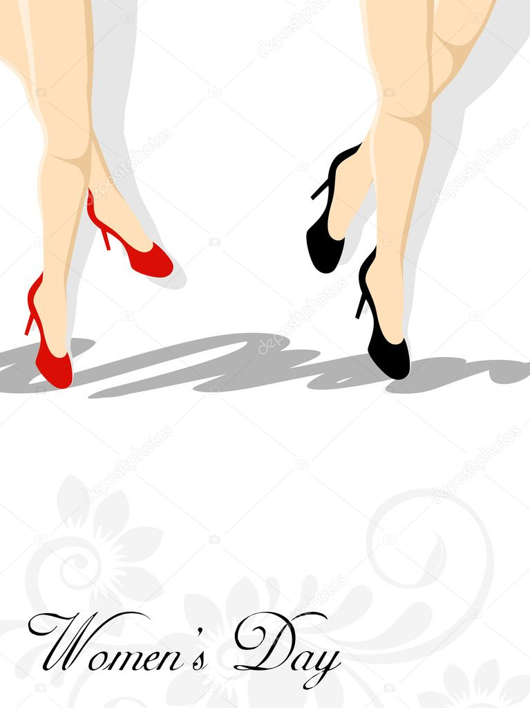 Beautiful lags of two girls in the motion. vector
