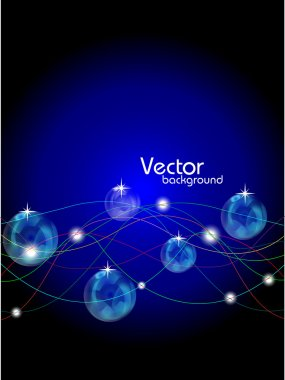 Abstract lines with shiny balls background.vector