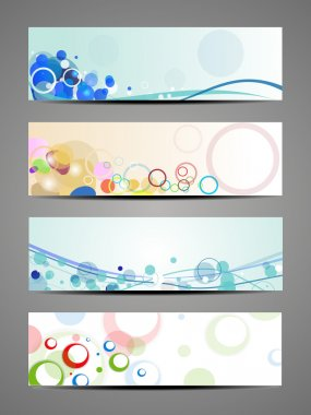 Abstract decorative vector header set pack.