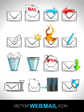 Vector illustration set of web mail icons.