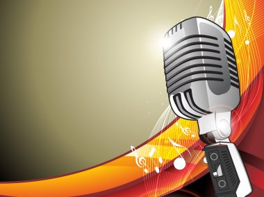 Vintage microphone - vector illustration with wave and music not