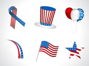 4th of July, independece day vector objects isolated on white.