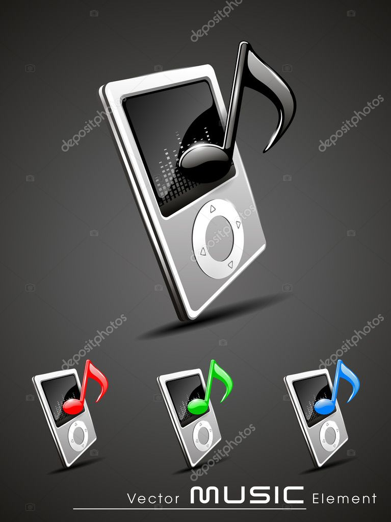 Vector 3d music player icon set — Stock Vector