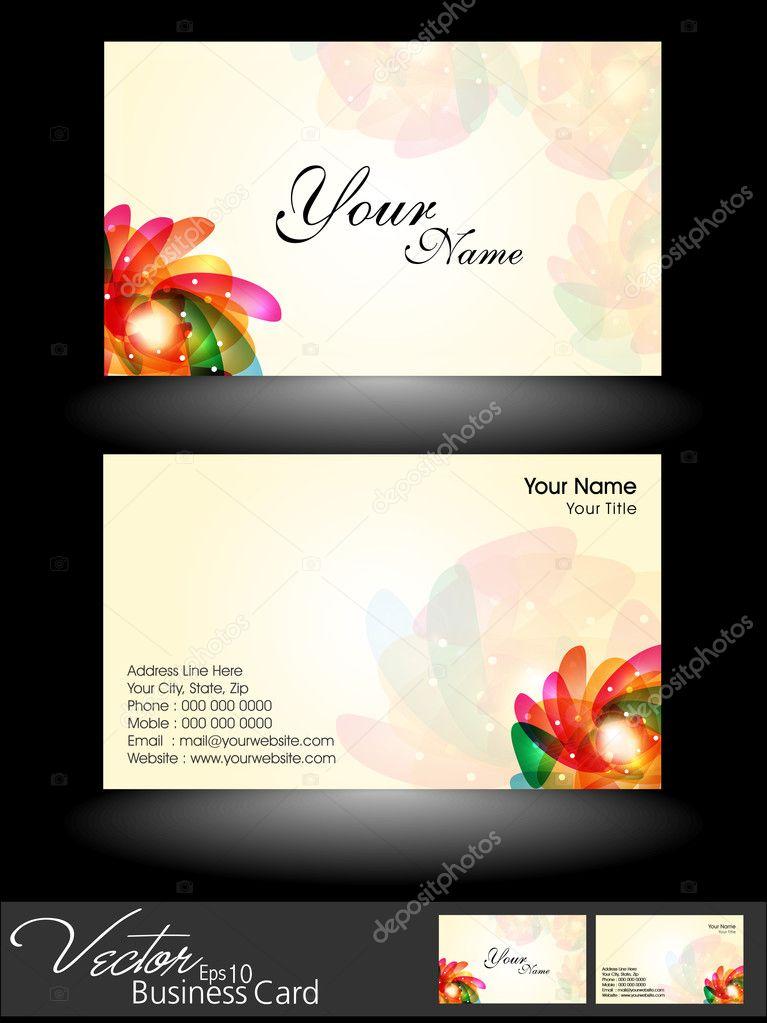 Abstrait Colore Floral En Couleur Lumineuse Des Cartes De Visite Professionnelles Et Concepteur Ensemble Modele Ou La Carte