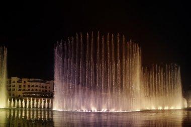 Dancing fountain on Burj Khalifa Lake. Dubai, UAE