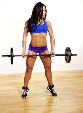 Image of muscle woman with bar