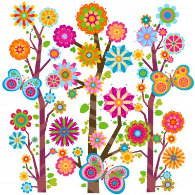 Sweet floral tree and butterflies stock vector