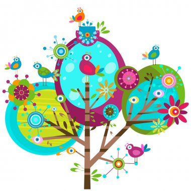Whimsy flower tree and birds stock vector