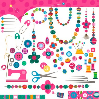 Sewing craft set stock vector