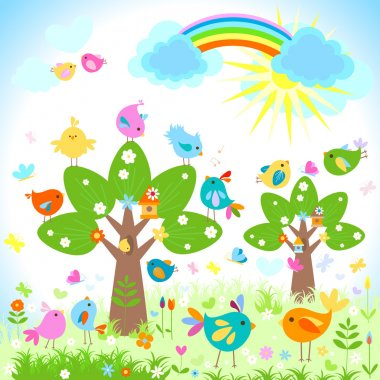 Bright spring with rainbow stock vector