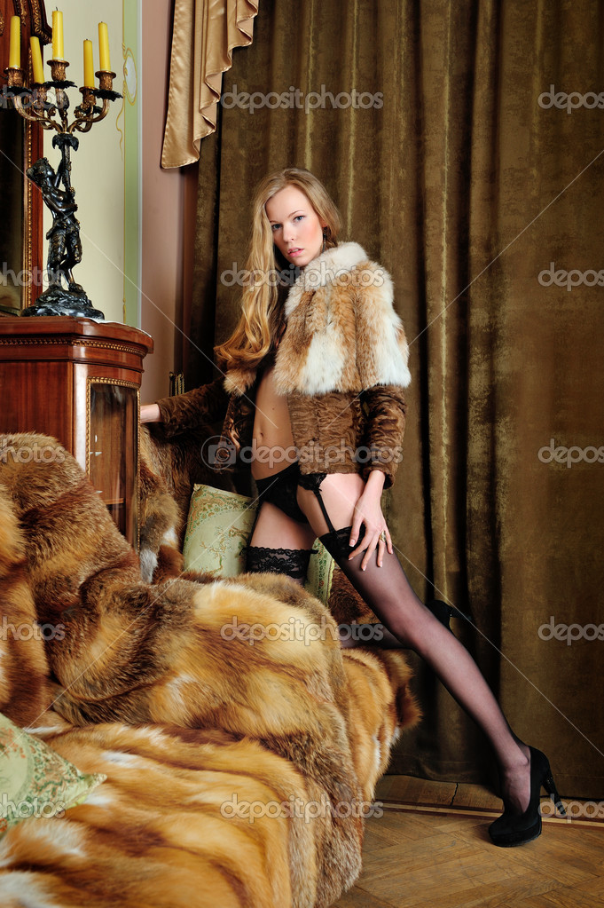Naked girls with fur coat