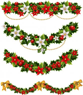 Green Christmas garlands of holly and mistletoe and bow