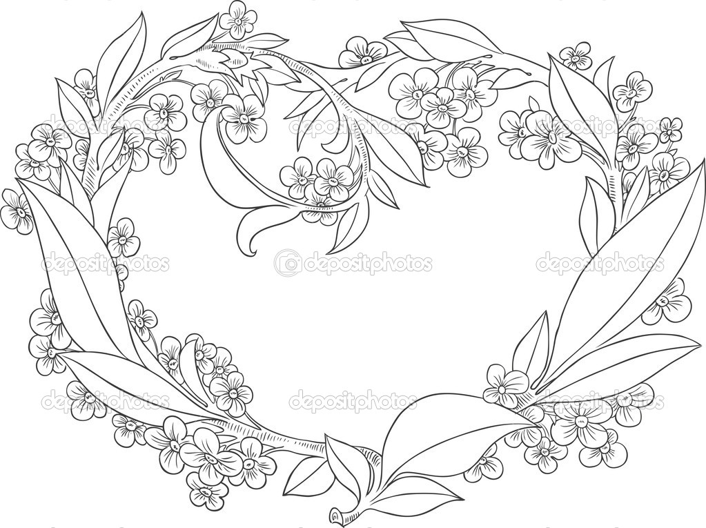 Beautiful Heart Valentine Flowers Drawing Ink Decoration