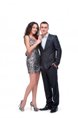 Young couple wear evening dress and suit