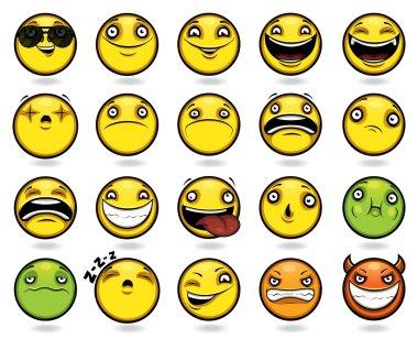 Set of twenty funny emoticons