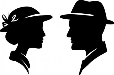 Man and woman face profile, male female couple