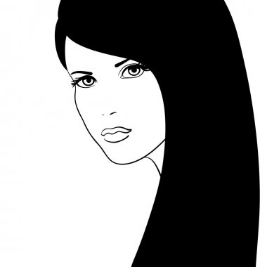 Black and white girl face vector illustration, fashion model