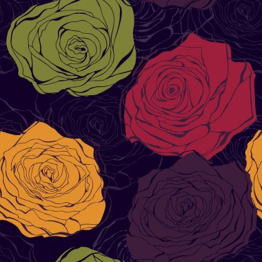 Colourful rose vector seamless pattern