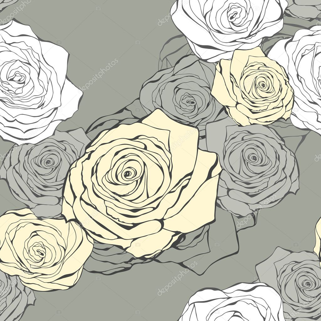 Seamless flower pattern from roses