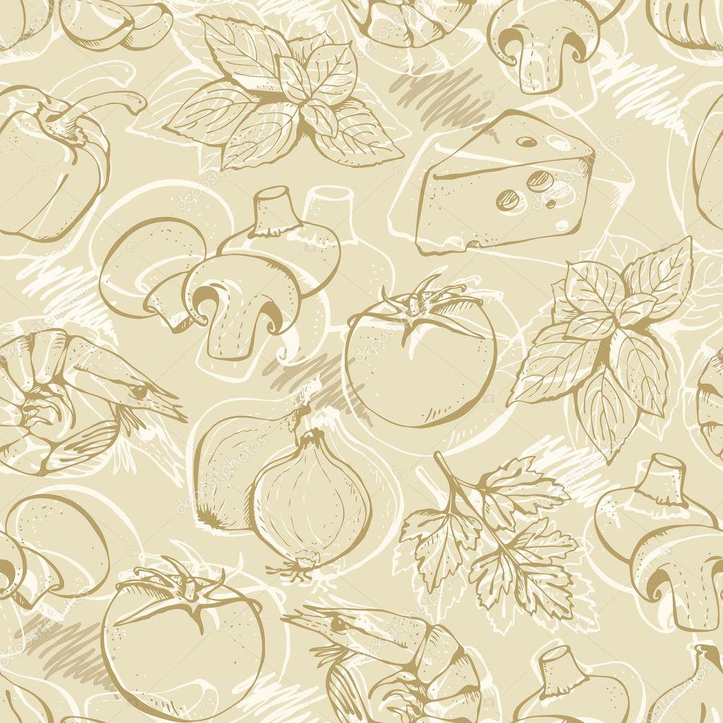 Pizza doodle set on a beige