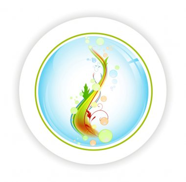 Abstract life tree with bubblies in round icon