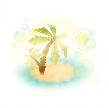Summer island with palms