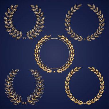Vector set of golden laurel wreaths