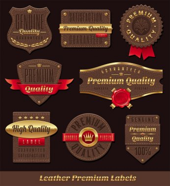 Set of leather & gold premium and quality labels