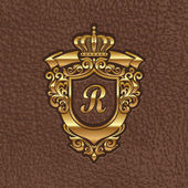 Fotografie Vector illustration - golden royal coat of arms embossing on a leather