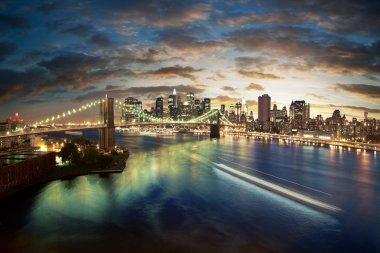 """Картина, постер, плакат, фотообои """"удивительный нью-йоркский городской пейзаж - взятый после заката"""", артикул 9045810"""